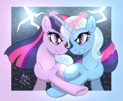 MLP FIM - Twilight Sparkle VS Trixie by Joakaha