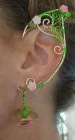 Pair of GoldenWoven Wire Elf Ear Cuffs with Czech by jhammerberg