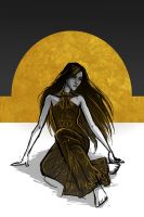 The Silver Eye - Melete in the Black and Gold Gown by lostie815