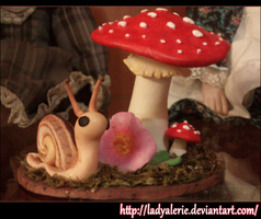 Mushroom and Snail fimo clay by LadyAlerie