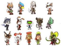 Star Fox Chibis (Extended) by GeoDragon394