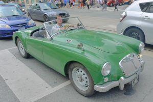 The Little Green MG At Yonge And Dundas by Neville6000