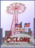 Cyclone at Astroland by invaderjes