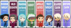 Ace Attorney chibi bookmarks by AznCeestar
