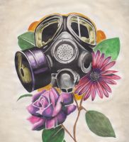 GAS MASK W SOME ROSES by charlesbronson777