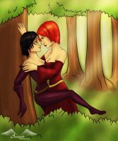 Dana and Leliana in the forest by Aztarieth