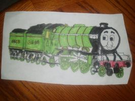 Flying Scotsman Two tenders  Engine Drawing by NWeezyBlueStars23