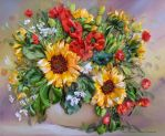 Sunflowers 2, silk ribbon embroidery,embroidered. by TetianaKorobeinyk