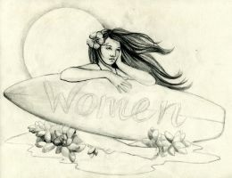 Surfer Girl Women's Restroom Sign Concept Sketch by AethertechIndustries