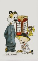Calvin and Hobbes: Spacetime by AmberStoneArt