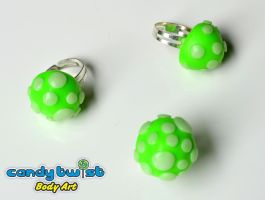 Trippy Neon / Glow-in-the-Dark Mushroom Rings by Dabstar