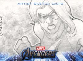 Avengers Assemble Sketchcard - Ms. Marvel by theopticnerve
