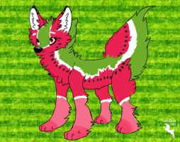 Watermelon Wolf by HarlequinHare