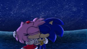 Sonic and Amy Kiss reborn by SpongicX