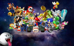 Mario n Sonic Galaxy Wallpaper by QuorraTheIso
