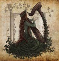 The Harpist -color- by ValkAngie