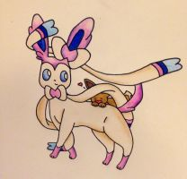 Sylveon and Eevee by SnowGirl134