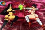 Uriki and Kalysta Fight by DemonRoyal