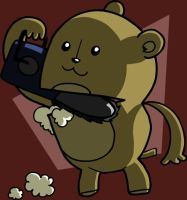 teddy bear with a chainsaw by heartpuncher