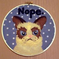 Grumpy Cat Embroidery Hoop by iggystarpup