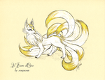 Illustration - Nine-tailed fox flowing by rosepeonie