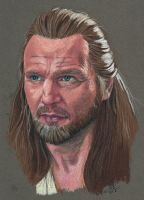 Qui-Gon Jinn colored pencil by maulsballs