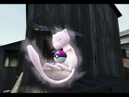 Mew holding a Masterball by Dragoshi1