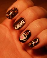 Hot Chocolate Nail Art by Lyralein