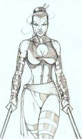 Psylocke Pencils by CliffEngland