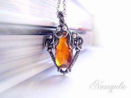 Orange Cubic Zirconia and Silver necklace by nurrgula
