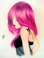 Girl with pink hair by AndrezzaKososki