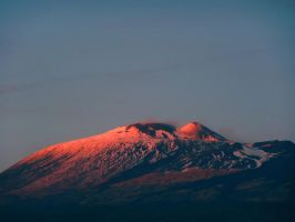 etna in winter's  sunset by deaCalipso