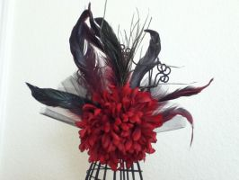 The Red Queen - Flower and Feather Hair Clip by PandoraLuv