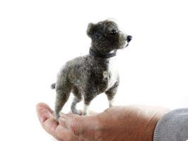 Needle felted Staffordshire Bull Terrier by DexihexiPouchPuppies