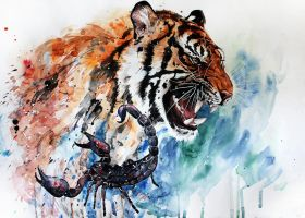 tiger and scorpion by ElenaShved
