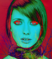 Turquoise Girl on Red with Blue Tree by Malavoglia