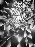 Tiger Shattered Value - Charcoal  by GloriaMarie74