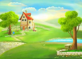 cartoon house painting by eydii