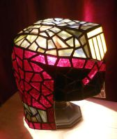 Judge Dredd Helmet Stained Glass Desk Lamp 3 by mclanesmemories