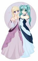 CM: Yui and Miku - Ball Gown by BloodDiamondz