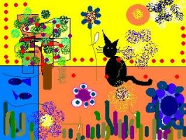 post-card cat by tripping