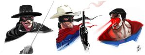 Zorro Lone Ranger Superman by 2d-artist