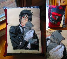 Sebastian Michaelis - Hand Embroidered Pillow by Blargmuffins