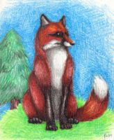 Crayon Red Fox by Dodo-Butt
