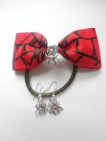 Halloween spiderweb bow and Spider earrings by ScorpionsKissx