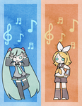 Hatsune Miku + Kagamine Rin Bookmarks by Sapphlet