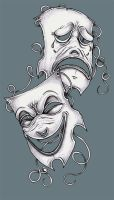 Tattoo Design Theater Masks by tjiggotjurring