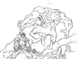 Wolverine vs Venom sketch by JoeyVazquez
