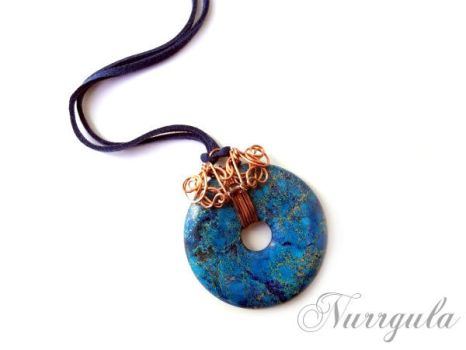 Blue Jasper Donut wire wrapped Copper Pendant by nurrgula
