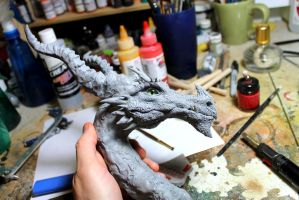 Horned Dragon WIP by RavendarkCreations